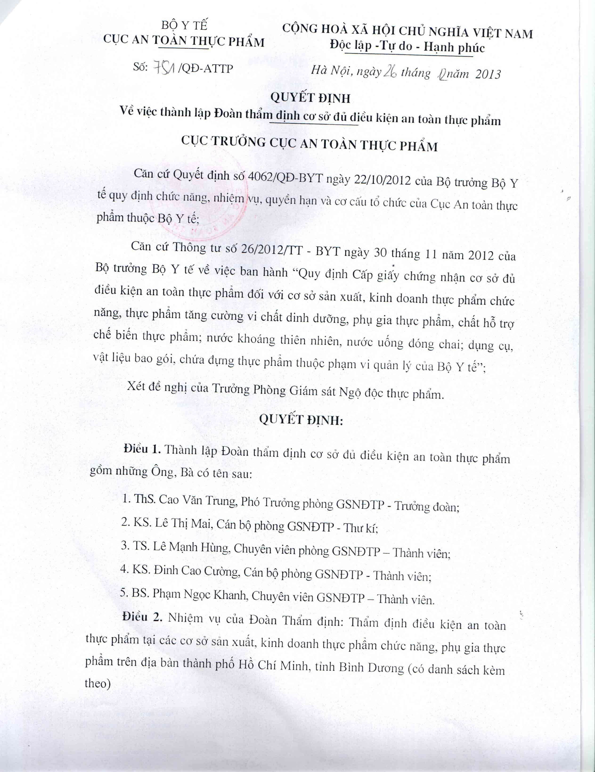 Quyết định -  thẩm định ATVS Thực Phẩm 1